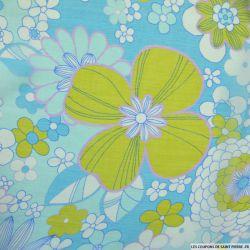 Mousseline de Soie imprimée vintage fleurs vertes fond bleu