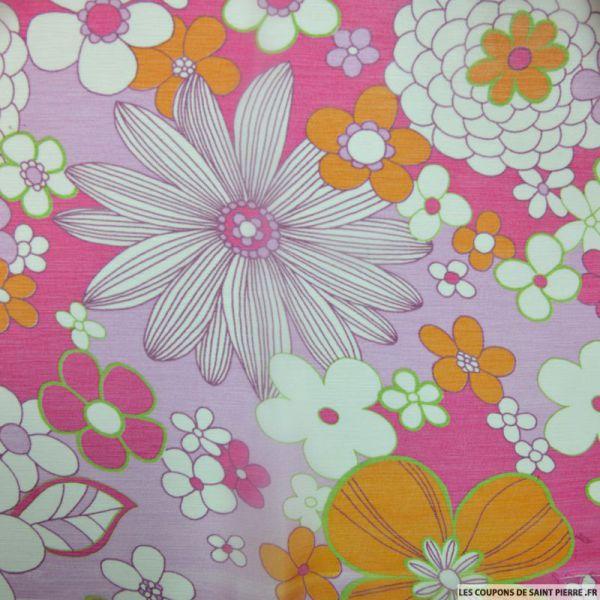 Mousseline de Soie imprimée vintage fleurs oranges fond fuchsia