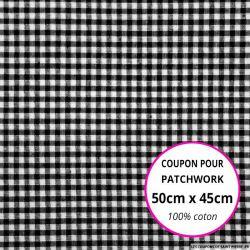 Coton Vichy 3mm noir Coupon 50x45cm