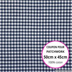 Coton Vichy 3mm marine Coupon 50x45cm
