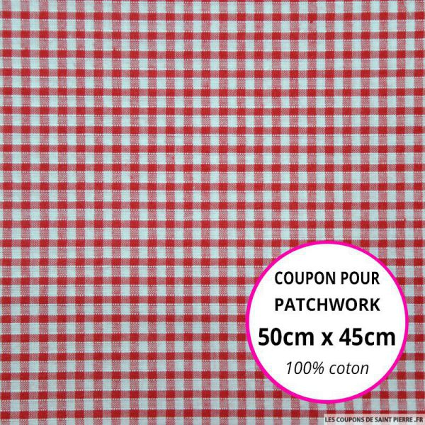 Coton Vichy 3mm rouge Coupon 50x45cm