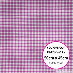 Coton Vichy 3mm fuchsia Coupon 50x45cm