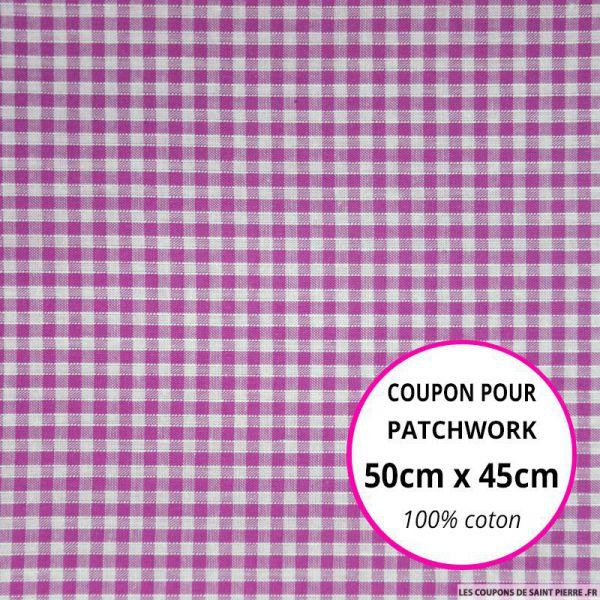 Coton Vichy 3mm fuchsia Coupon 50x45cm