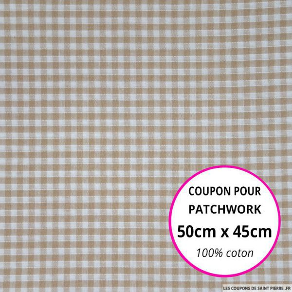 Coton Vichy 3mm beige Coupon 50x45cm
