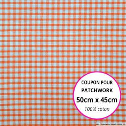 Coton Vichy 3mm corail Coupon 50x45cm