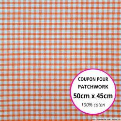 Coton Vichy 3mm corail Coupon 50x45cm
