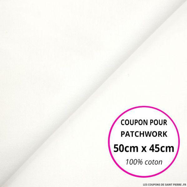 Coupon de Coton uni blanc vendu en 50cmx45cm