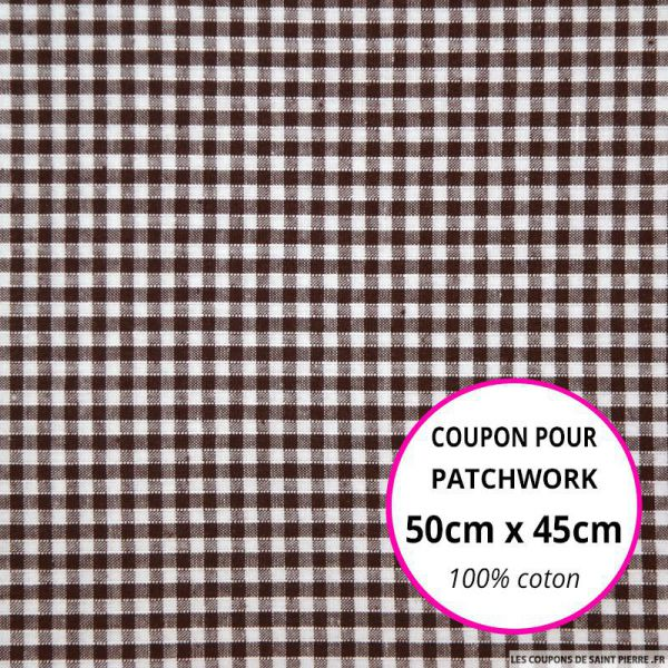 Coton Vichy 3mm marron Coupon 50x45cm