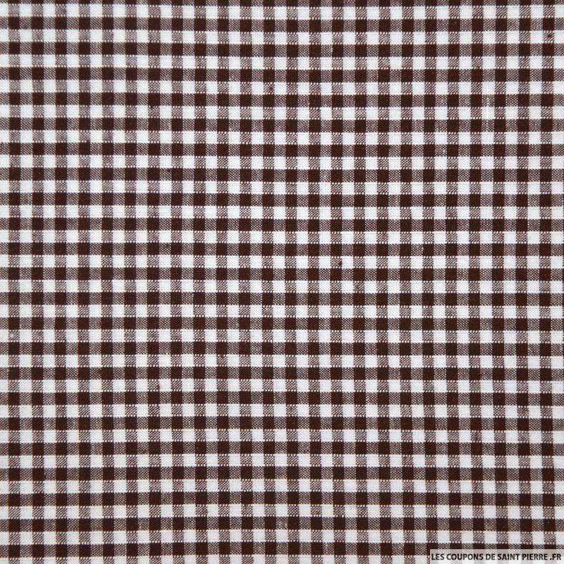 coton vichy 3mm marron coupon 50x45cm coupons de saint pierre. Black Bedroom Furniture Sets. Home Design Ideas