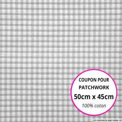 Coton Vichy 3mm gris Coupon 50x45cm