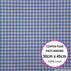 Coton Vichy 3mm bleu roi Coupon 50x45cm