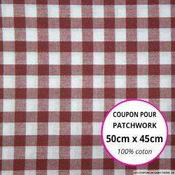 Coton Vichy 9mm bordeaux Coupon 50x45cm