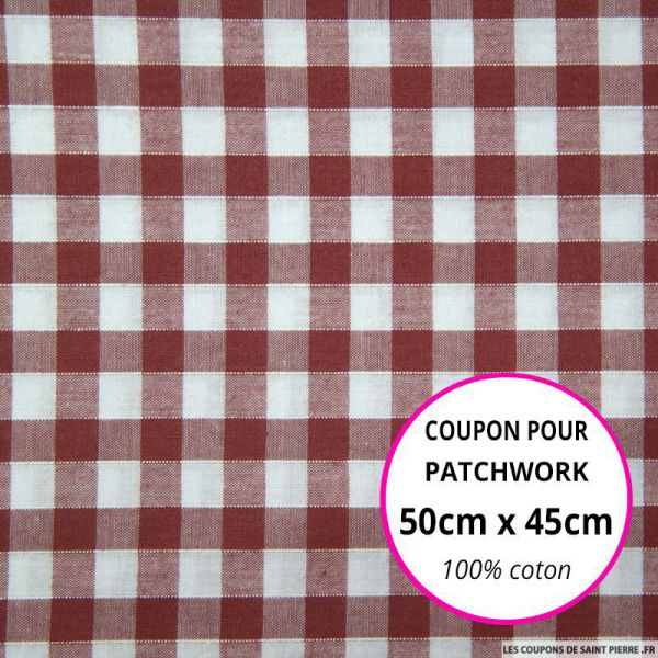Coton Vichy 9mm bordeaux Coupon 50x45cm