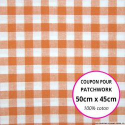 Coton Vichy 9mm orange Coupon 50x45cm