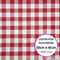 Coton Vichy 9mm rouge Coupon 50x45cm