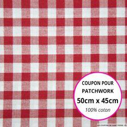 Coton Vichy 9mm rouge Coupon 50x45cm
