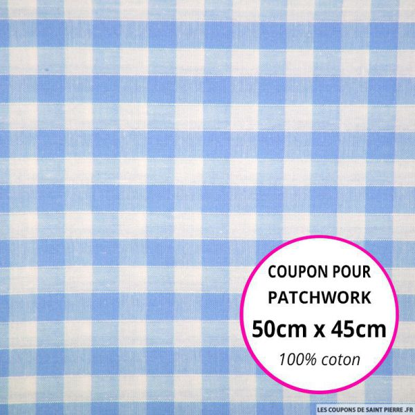 Coton Vichy 9mm bleu Coupon 50x45cm