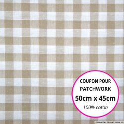 Coton Vichy 9mm beige Coupon 50x45cm