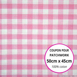 Coton Vichy 9mm rose Coupon 50x45cm