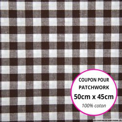 Coton Vichy 9mm marron Coupon 50x45cm