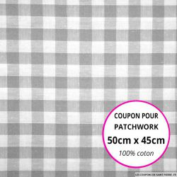 Coton Vichy 9mm gris Coupon 50x45cm