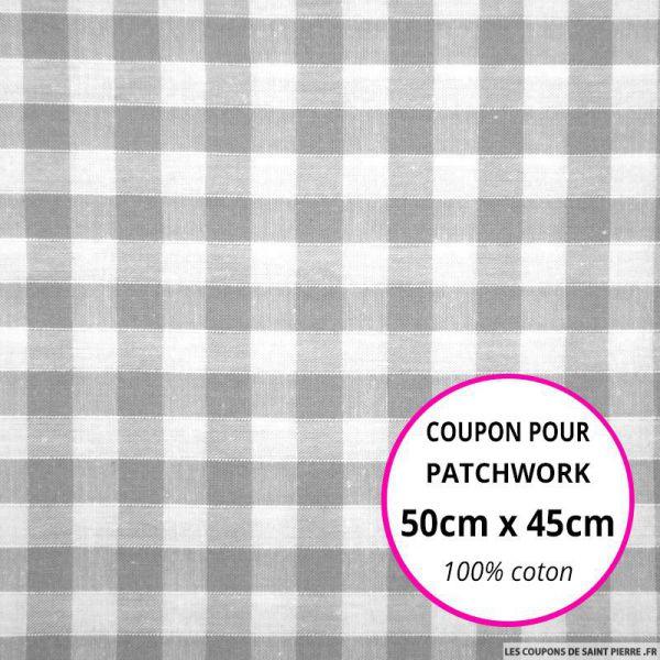 Coton Vichy 9mm gris Coupon 50x45cm