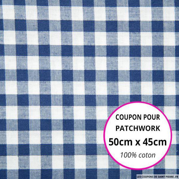 Coton Vichy 9mm bleu roi Coupon 50x45cm