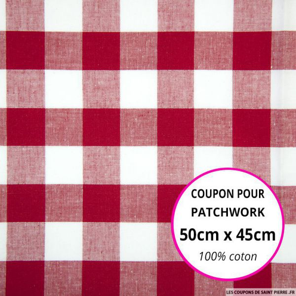 Coton Vichy 25mm rouge Coupon 50x45cm