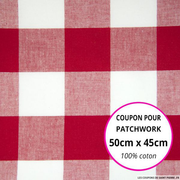 Coton Vichy 50mm rouge Coupon 50x45cm