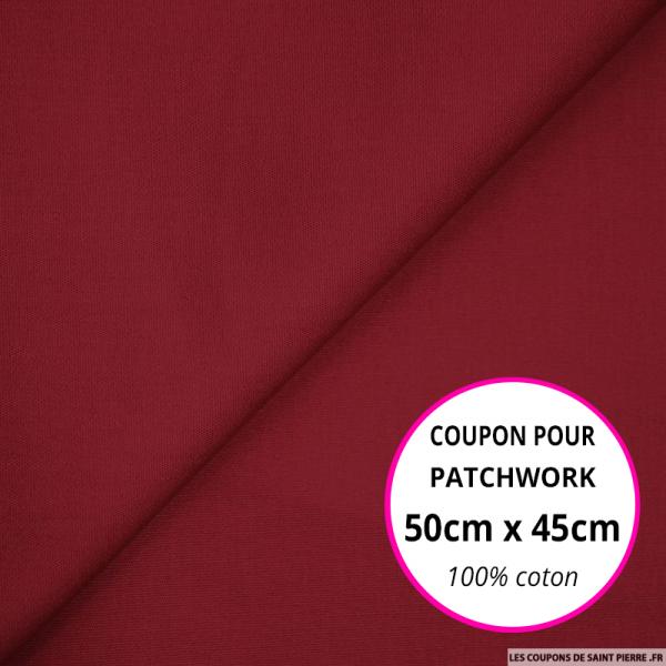 Coton uni bordeaux 50x45cm