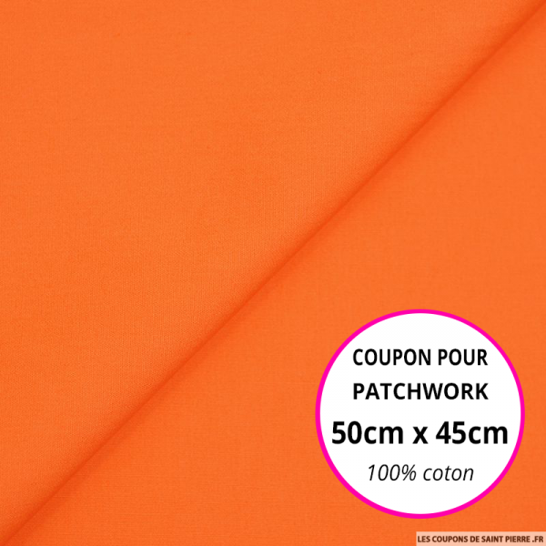 Coton uni orange 50x45cm