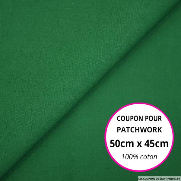 Coton uni vert gazon 50x45cm