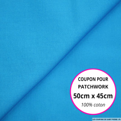 Coupon 50x50cm Coton imprimé pois bleus et blanc sur fond bleu