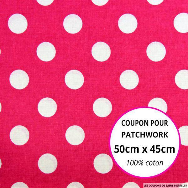 Coton fuchsia imprimé gros pois Coupon 50x45cm