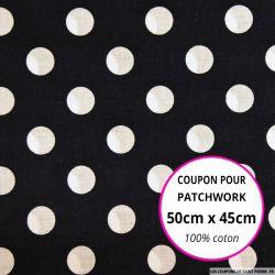 Coton noir imprimé gros pois Coupon 50x45cm