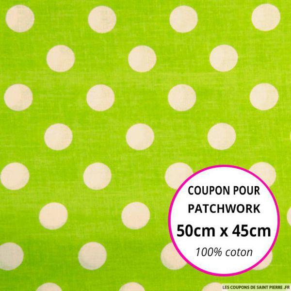 Coton vert imprimé gros pois Coupon 50x45cm