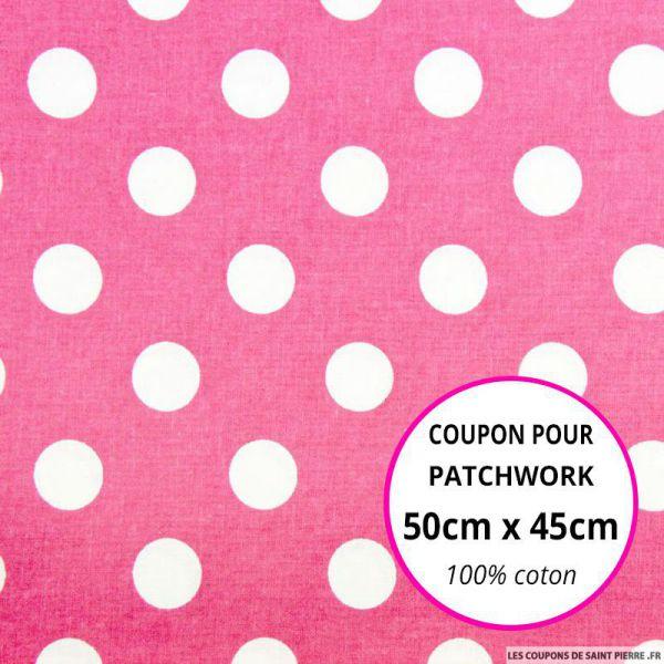 Coton rose imprimé gros pois Coupon 50x45cm