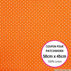 Coton imprimé pois tête d'épingle blanc fond orange Coupon 50x45cm