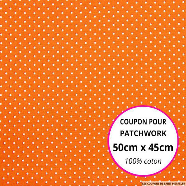 Coton imprimé pois tête d'épingle blanc fond orange Coupon 50x45cm