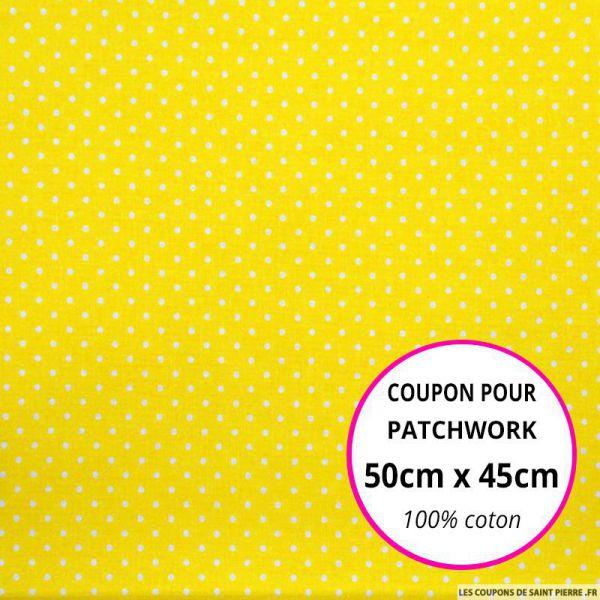 Coton imprimé pois tête d'épingle blanc fond jaune Coupon 50x45cm