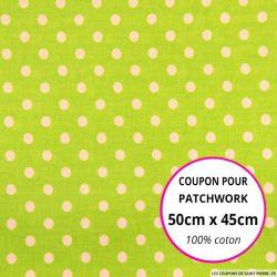 Coton vert imprimé pois Coupon 50x45cm