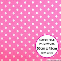 Coton rose imprimé pois Coupon 50x45cm