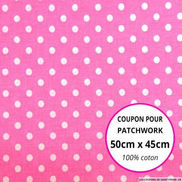 Coton rose imprimé pois Coupon 50x45cm