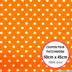 Coton orange imprimé pois Coupon 50x45cm
