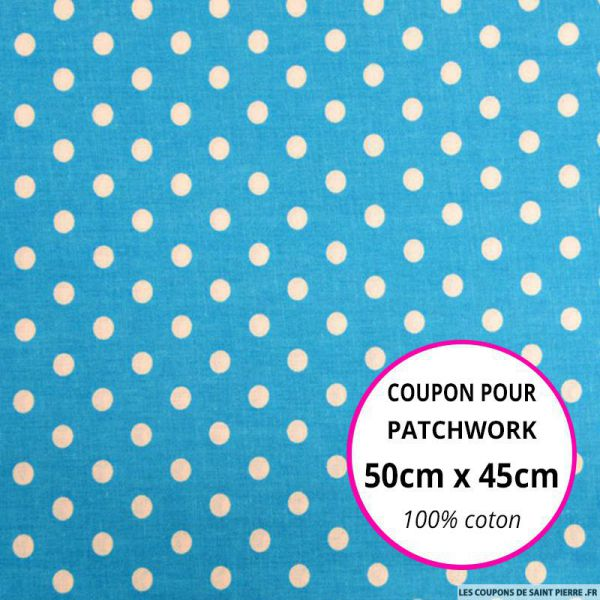 Coton bleu imprimé pois Coupon 50x45cm