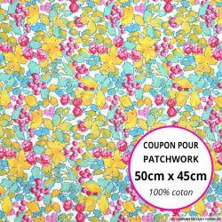 Coton imprimé fleurs et fruits jaune Coupon 50x45cm
