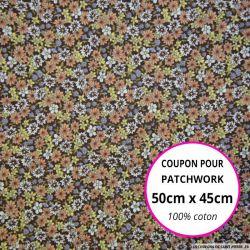 Coton imprimé fleurs marron et orange Coupon 50x45cm