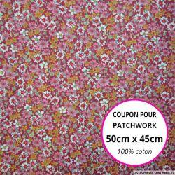 Coton imprimé fleurs rouge et rose Coupon 50x45cm