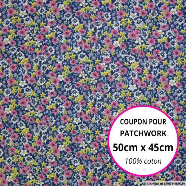 Coton imprimé fleurs marine et rose Coupon 50x45cm