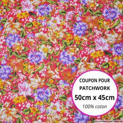 Coton imprimé fleurs rouge et jaune Coupon 50x45cm